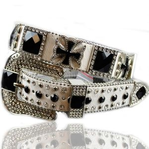 Accessories - White Horse Hair Rhinestone Concho Leather Belt